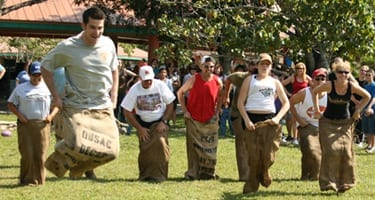 group in a sack race